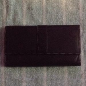 Coach Brown Trifold Wallet With Check Book Cover